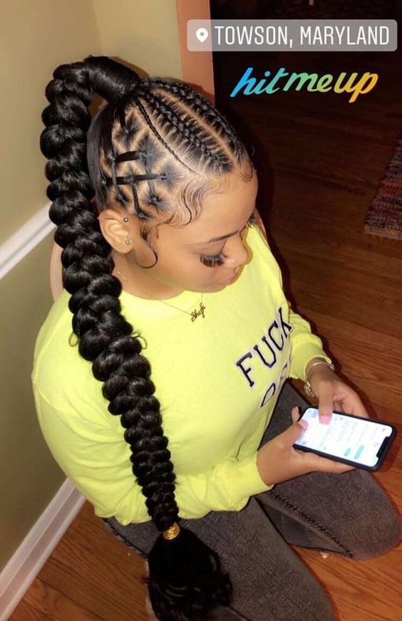 Braided Ponytail Hairstyles for Black Hair 2020 | African ...