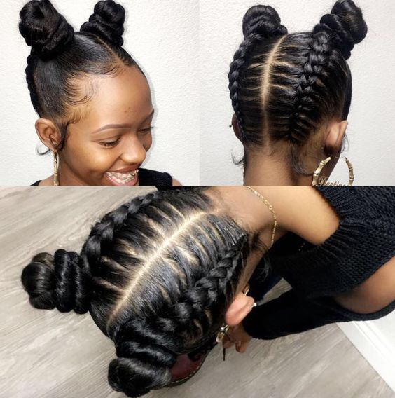 Beautiful Trendy Cornrows With Puff Hairstyle African