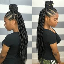 Cornrows Braid In Front And Box Braid In Back African